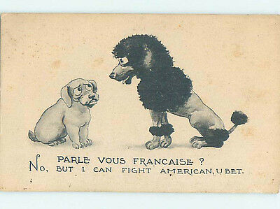 Pre-Linen comic FIGHTING AMERICAN DOG TALKS TO FRENCH POODLE HJ4786
