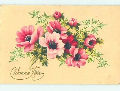Pre-Linen foreign BEAUTIFUL LARGE PINK FLOWERS HL7325