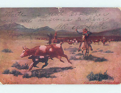 Pre-1907 western signed OLD WEST COWBOY THROWS ROPE AT COW DURING ROUNDUP HJ4527