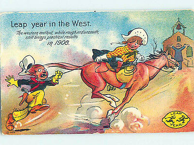 1908 western LEAP YEAR IN WILD WEST - COWGIRL CATCHES COWBOY WITH ROPE HJ4555