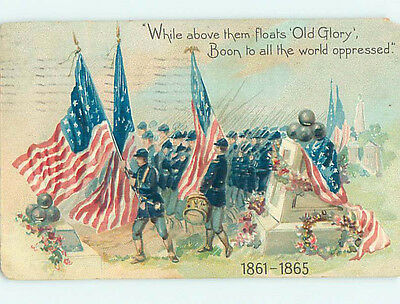 Chipped Pre-Linen patriotic military CIVIL WAR SOLDIERS CARRY MANY FLAGS HJ2848
