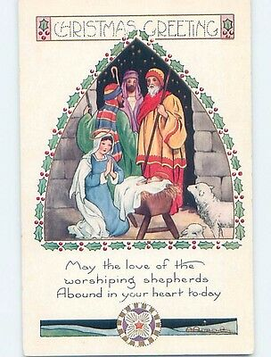 Pre-Linen christmas religious NATIVITY - MARY AND WISEMEN WITH BABY JESUS hk9871