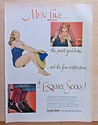 1947 magazine ad for Esquire Socks - Men Like women in bathing suits & socks!