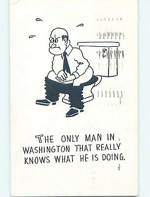 Damaged Pre-1980 comic POLITICIAN IN WASHINGTON SITTING ON THE TOILET HL3595