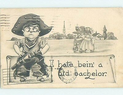Damaged 1912 western COWBOY BOY IS JEALOUS OF BOY WITH GIRL HL6782