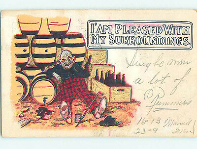 Pre-1907 comic DRUNK MAN SURROUNDED BY BEER BARRELS - TEMPERANCE HQ8466