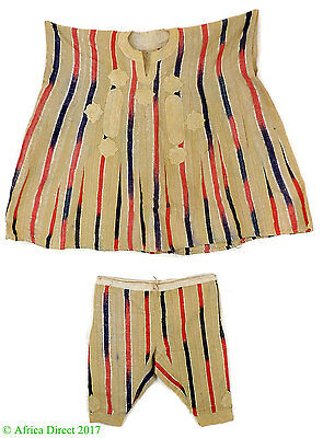 Hausa Grand Boubou Outfit Embroidered Red Stripes Nigeria African Art