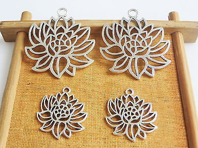 10pcs Antique Silver Open Flower Filigree Charms Pendants Jewelry Findings