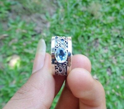 Size 8 (US) Gemstone Solid Silver, 925 Balinese Design Ring 38975