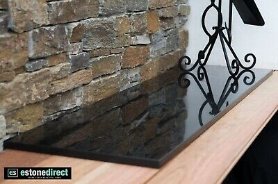 Fireplace Hearth Black Polished Granite 1500 x 400 x 20mm - mantle, bench top
