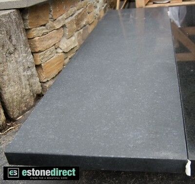 Black Honed Granite Fireplace Hearth - 1500x400x40mm, bbq top, vanity