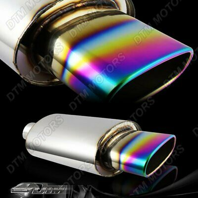 """5.5"""" Wide Oval Rainbow Burnt Tip Stainless Muffler Exhaust 2.5"""" Inlet Universal"""