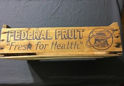 """Vintage Wood Federal Fruit Crate Box 12""""W x 17.5""""L x 5""""H EX Shape Fully Intact"""