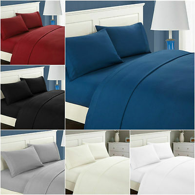 Comfort 1800 Count 4 Piece Deep Pocket Fitted Bed Sheet Set Twin Full Queen King