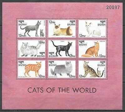 121.bhutan Stamp Mini Sheet  Cats Of The World  . Mnh
