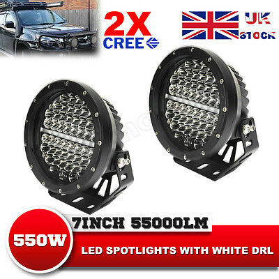 7Inch 1100W PHILIPS LED Driving Light DRL Round Combo Beam Offroad Spotlights