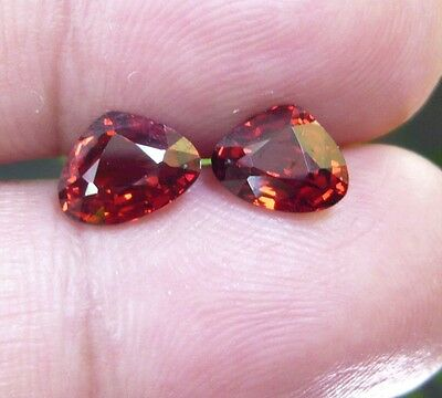 SG00211 3.13ct(2p)100%natural Dark reddish yellow fancy shape spessartite garnet