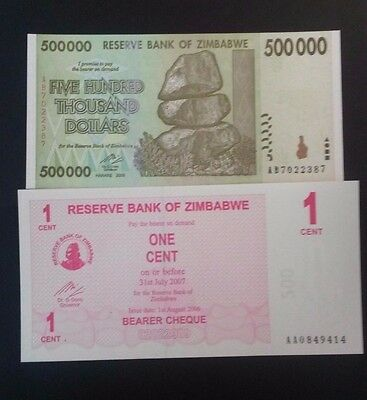 2008 RESERVE BANK of ZIMBABWE 500,000 & One Cent 2 Note Set - Uncirculated