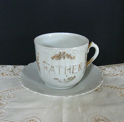 """Antique Victorian Large Oversized """"Father"""" Breakfast Cup and Saucer"""