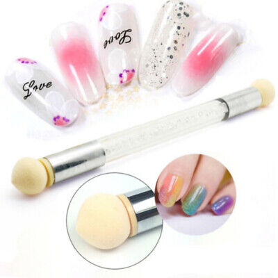 Dual head Nail Art Sponge Brush Pen Kit Rhinestone Handle Stamping Transfer Tool