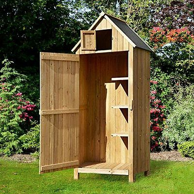 Airwave Wooden Beach Hut Sentry Box Outdoor Garden Storage Cupboard Tool Shed