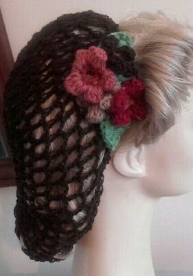 Pretty flower Vintage style 1940's handmade hair snood wartime brown hairnet