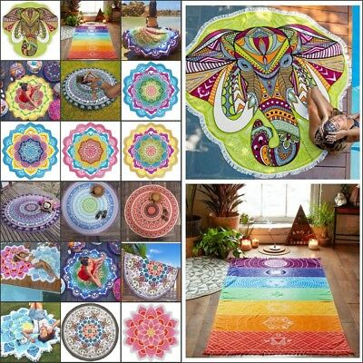 Mandala Beach Throw Blanket Hippie Yoga Mat Towel Bohemian Round Tapestry Rug