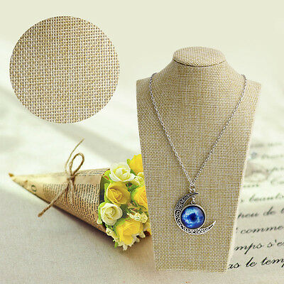 Linen Mannequin Bust Necklace Pendant Neck Model Jewelry Display Stand Holder
