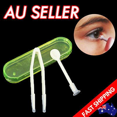 Contact Lens Tweezers Stick Inserter Remover Tool Kit Tip Storage Case Box Set