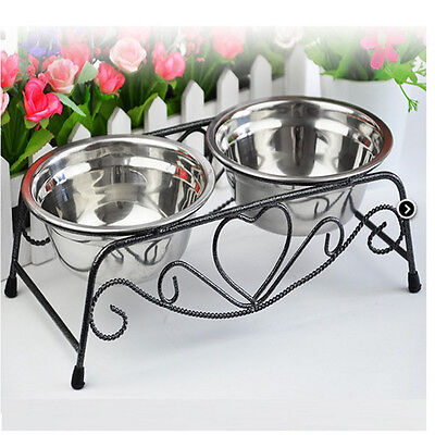 Double Pet Cat Dog Puppy Wate Food Feeder Dish Bowl Stand Stainless Steel