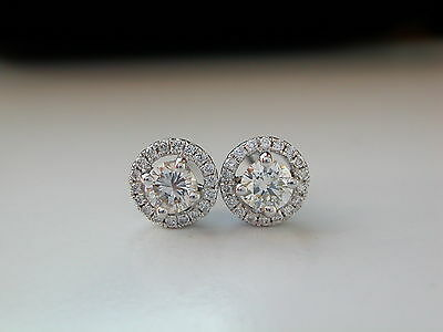 Diamond Halo Stud Earrings, Round Diamonds, 0.40ct pair, 18ct White Gold