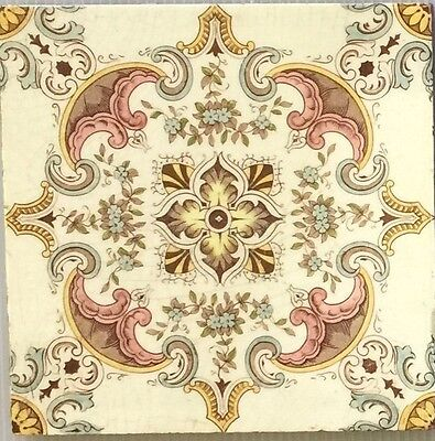 Original Victorian Set of 10 Geometric Floral Fireplace Tiles in Pastel Colours