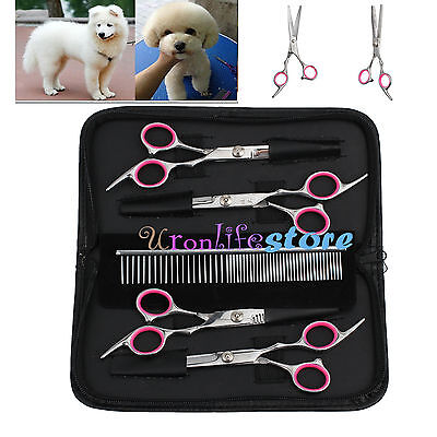"Professional 6"" Hair Cutting Scissors Dog Pet Grooming Kits Curved Shears Tool"