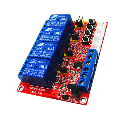 1 pcs 12V 4-Channel Self-lock Interlock Triggered Relay Module for Arduino