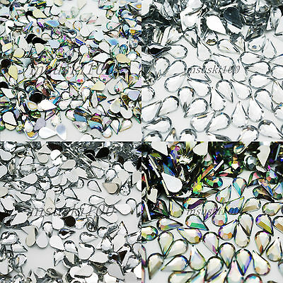 1000 Tear Drop Rhinestones Silver Flat Back Clear Crystal AB Acrylic Gems Beads