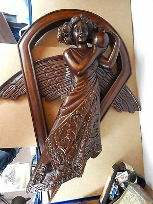 19th century  large Hardwood Carved Angel Church Wall hanging 75cm x59 cm heavy