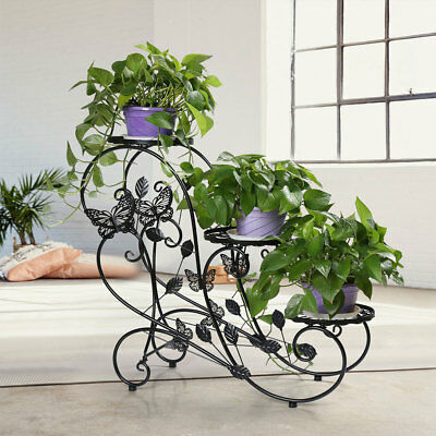 3 Tiers Butterfly Metal Flower Stand Plant Pot Display Rack Home Garden Office