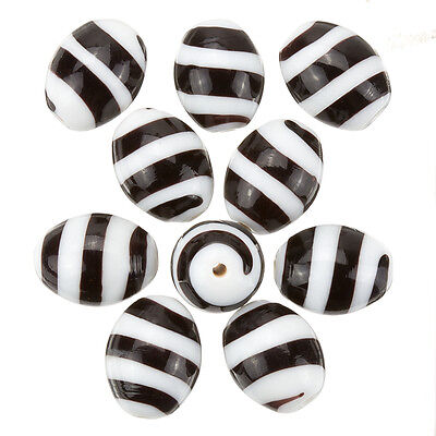 Spiral Pattern White Oval Glass Beads 18x14mm Pack of 10 (B51/1)