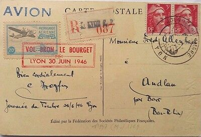France 1946 Registered Bron To Le Bourget Flight Post Card + Flying Boat Label