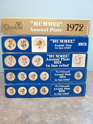 Hummel Goebel 5 Annual Collector Plates Bas Relief 1972 1973 1974 1975 1976 -MIB