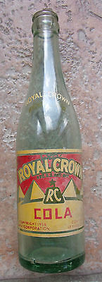 Vintage 1936 ROYAL CROWN RC Cola PYRAMID GLASS Soda Bottlle East Chicago Indiana