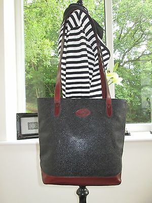 Genuine Mulberry Black Scotchgrain & Brown Leather Hellier Shoulder Hand Bag