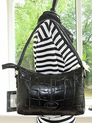 Authentic Vintage Mulberry Black Congo Leather Bridget Shoulder Hand Bag