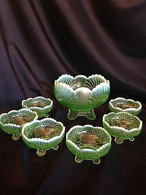 "Dugan Victorian Opalescant glass Beaded Shell  ""Berry Set"""