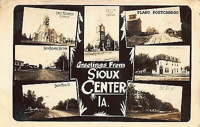 "Sioux Center, Iowa ""Greetings From Sioux Center-1913"" Rppc Real Photo Postcard"