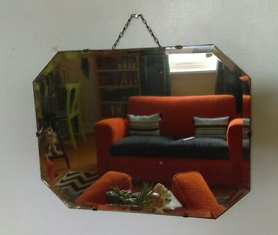 Vintage art deco octagonal wooden backed hanging wall mirror bevelled glass