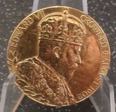 EDWARD VII CORONATION ANTIQUE 24CT GOLD ON SOLID STERLING SILVER-MEDAL-12.8g
