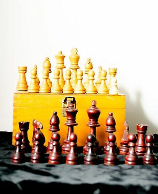 Chess Set - Staunton style large wooden vintage chess pieces in original box.