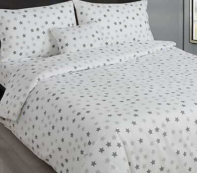 Grey and White Star Print Single Fitted Sheet