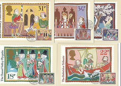 Christmas 1986 Great Britain 5 PHQ Cards (Stamps on Front)